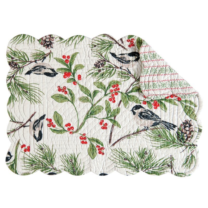 Chickadee Rectangular Quilted Placemat