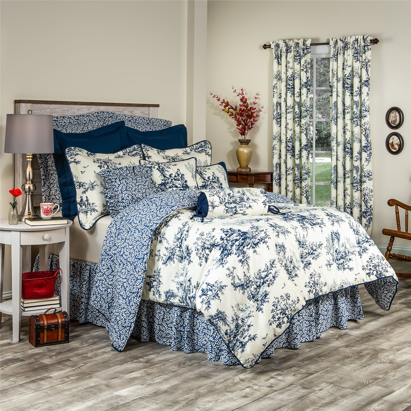 Bouvier Blue California King Comforter Set With 18 Bedskirt By Thomasville Home Fashions