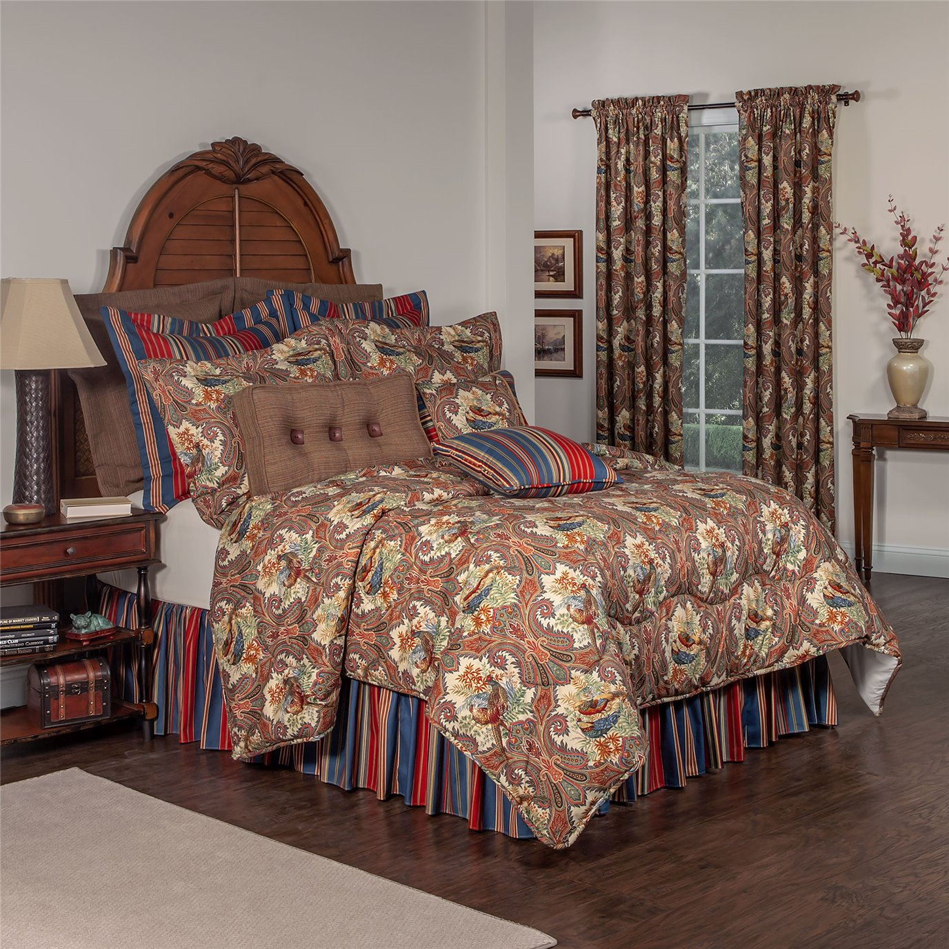 "Royal Pheasant King Comforter Set (15"" Bedskirt)"