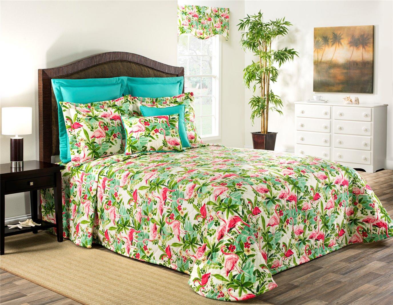 Floridian Flamingo Queen Bedspread