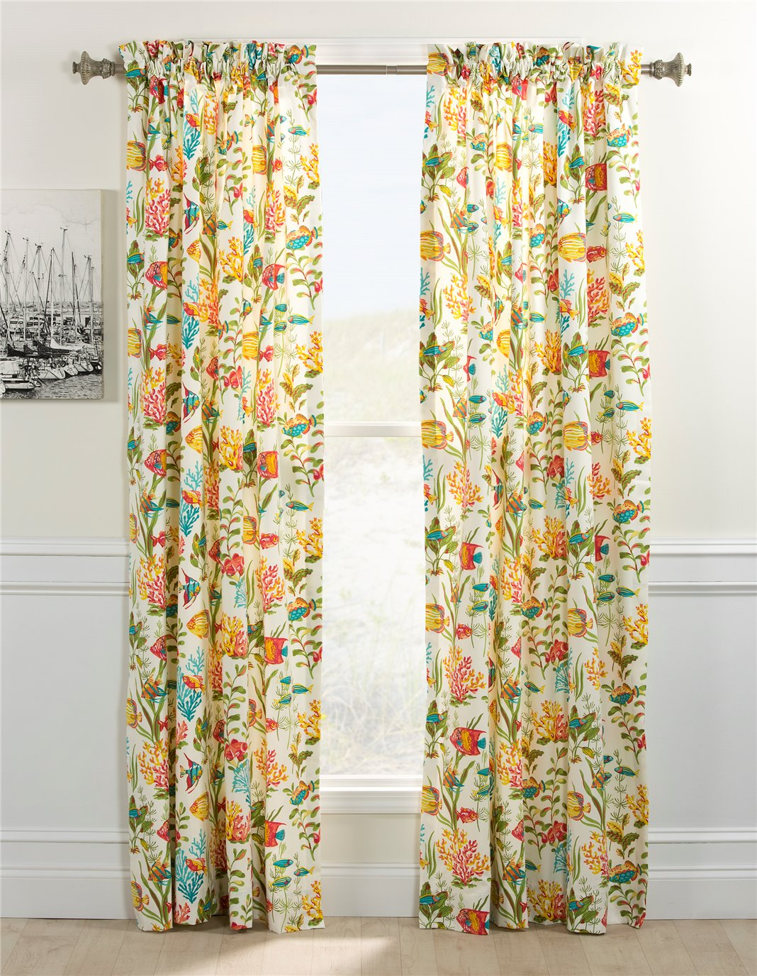 In the Sea Rod Pocket Curtain Panel Pair