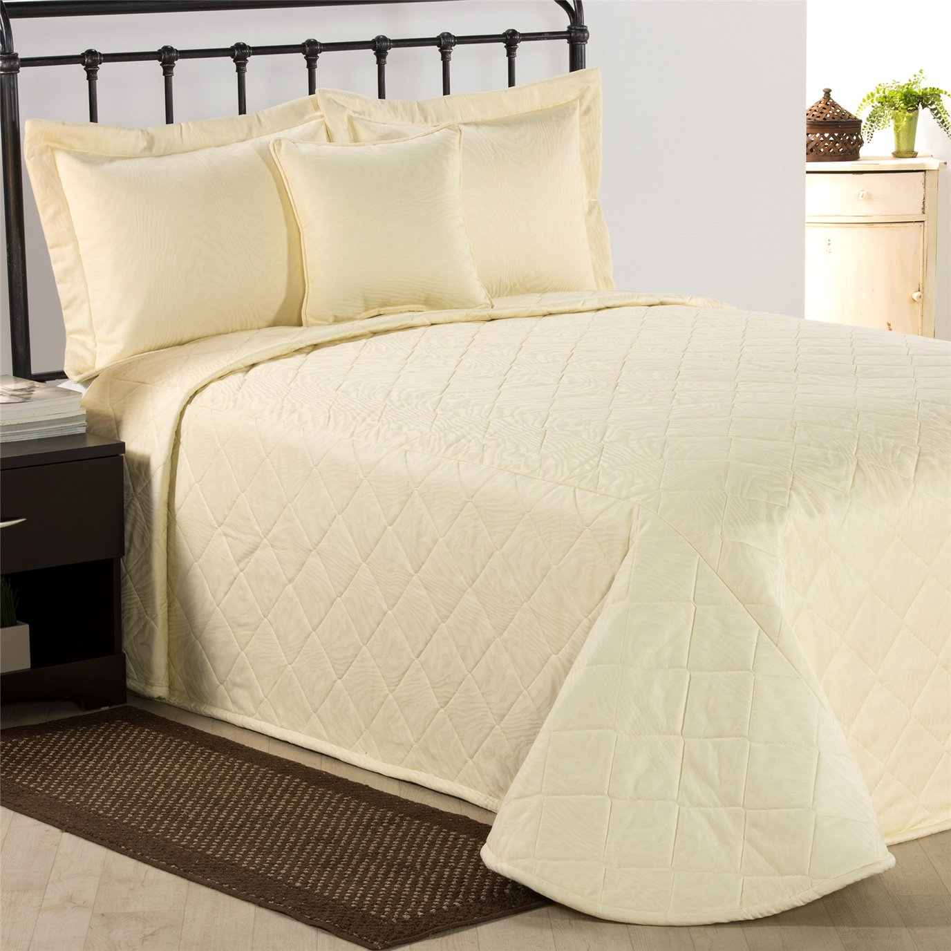 Ivory Moire California King Bedspread
