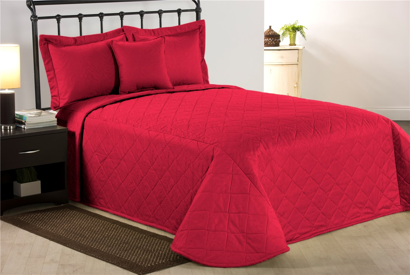 Red Moire King Bedspread
