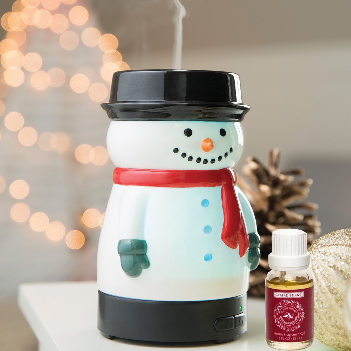 Essential Oil Diffuser Snowman by Airomé with Claire Burke Christmas Memories Fragrance Oil