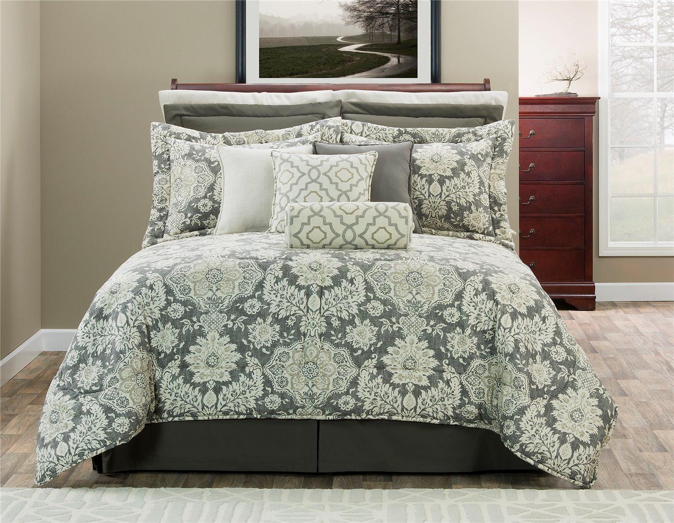 """Belmont Metal King Comforter Set (15"""" Drop Bed Skirt)"""