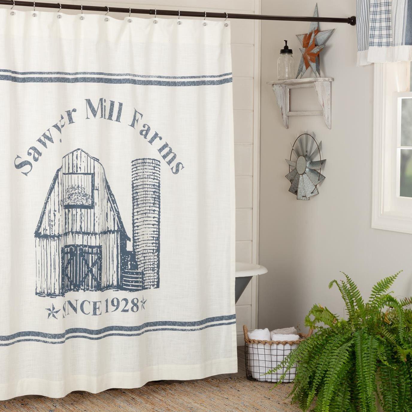 Sawyer Mill Blue Barn Shower Curtain 72x72