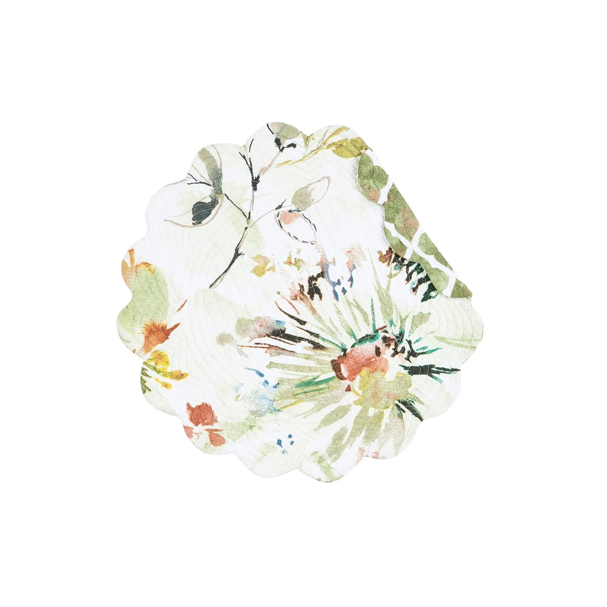 Watercolor Floral Round Quilted Placemat