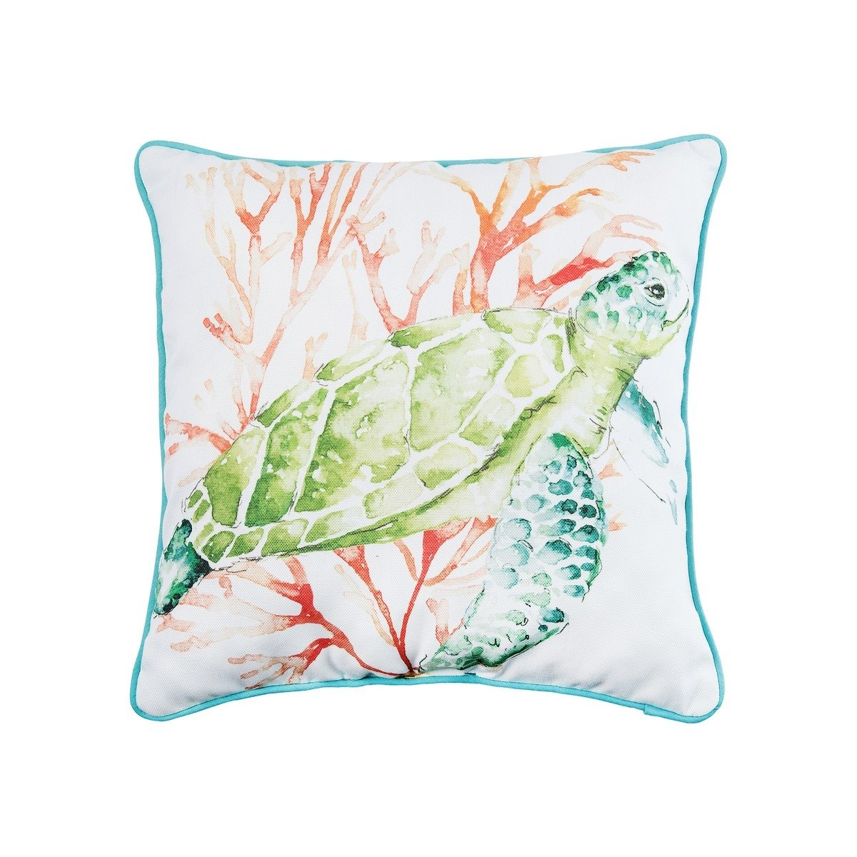 Colorful Sea Turtle Printed Pillow