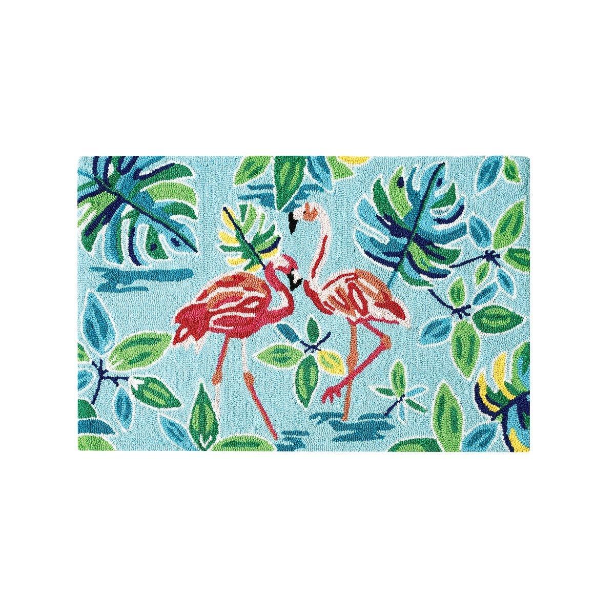Flamingo Garden Hooked Rug