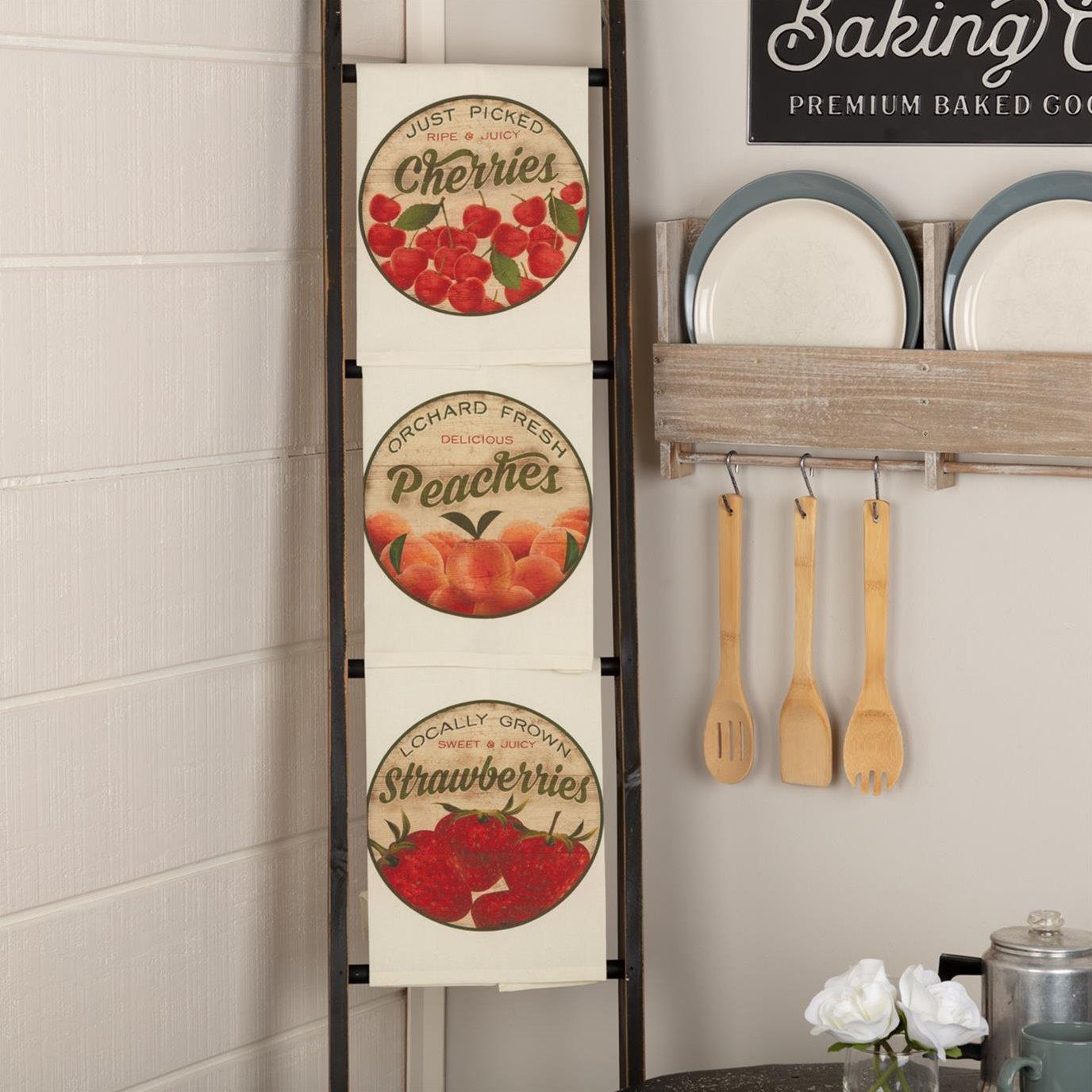 Farmer's Market Fresh Fruit Unbleached Natural Muslin Tea Towel Set of 3 (Cherry; Peach; Strawberry)