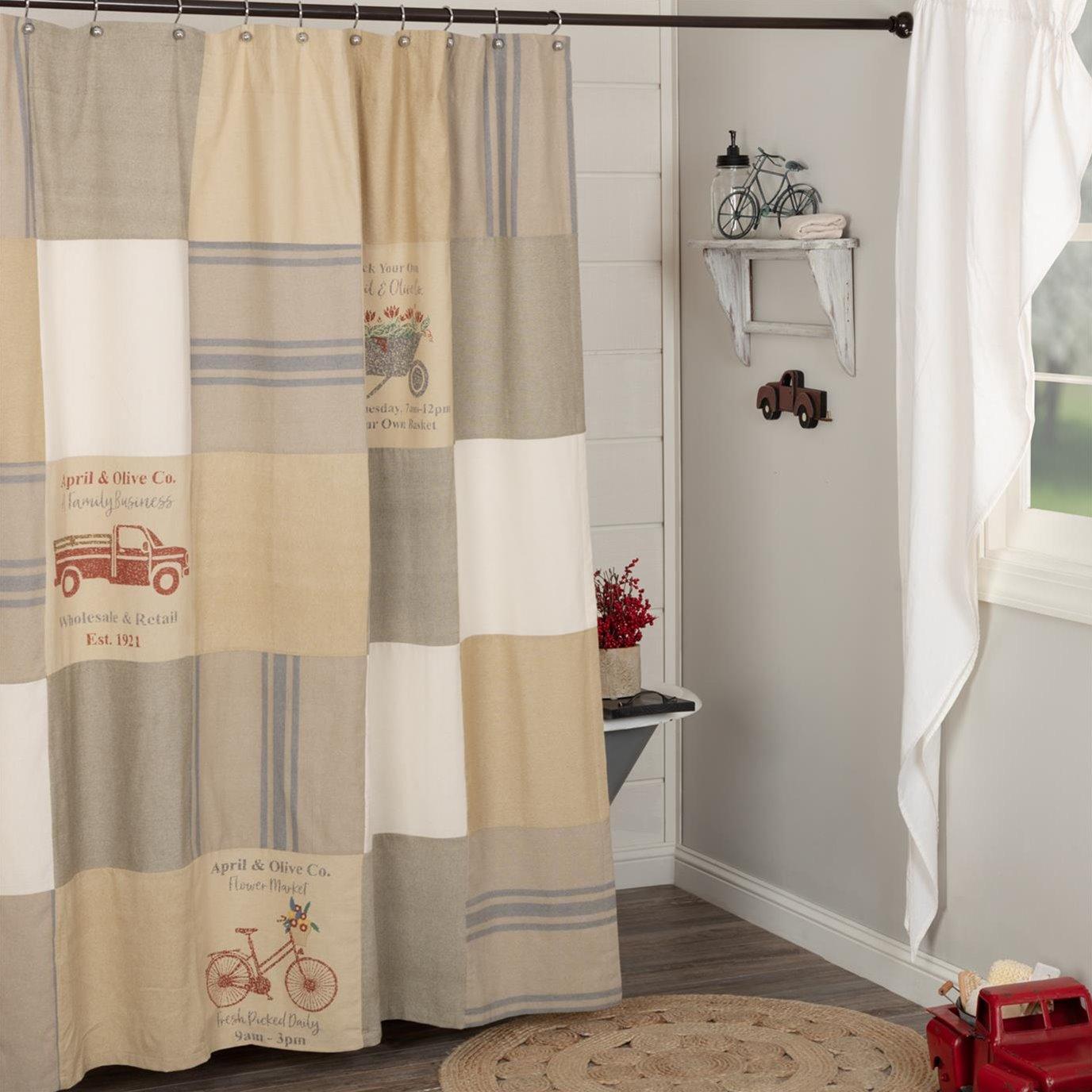 Farmer's Market Stenciled Patchwork Shower Curtain 72x72