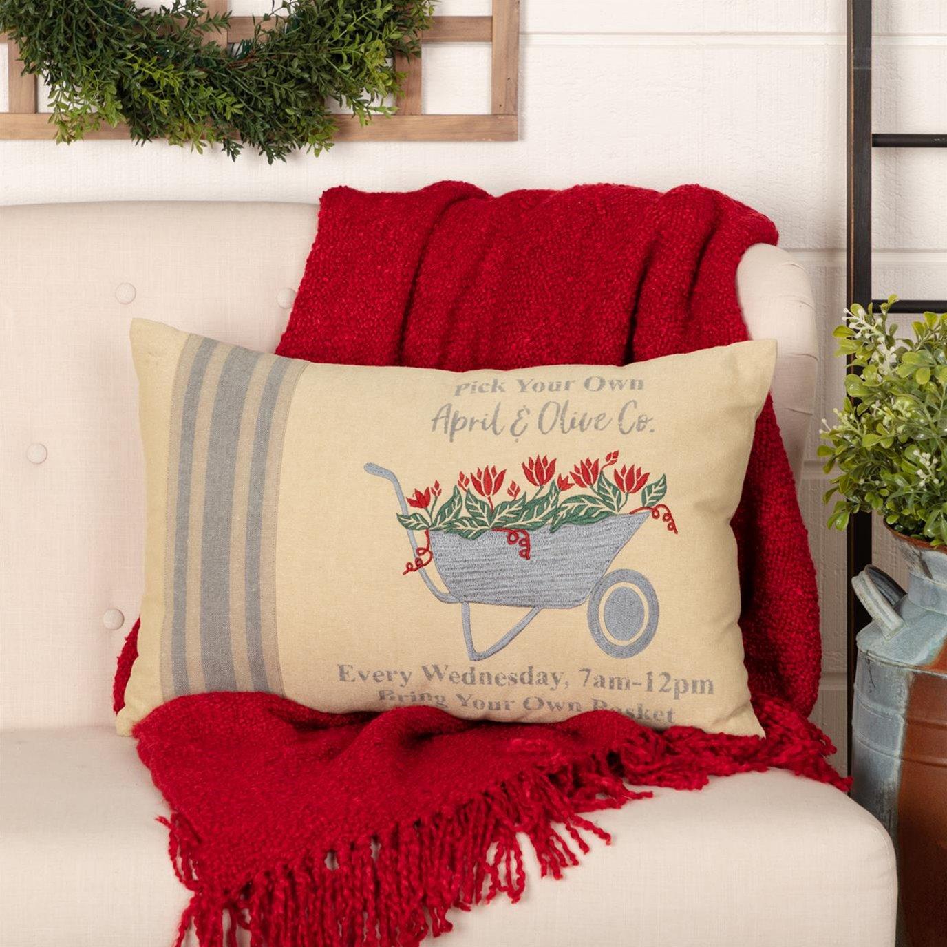 Farmer's Market Wheelbarrow Pillow 14x22
