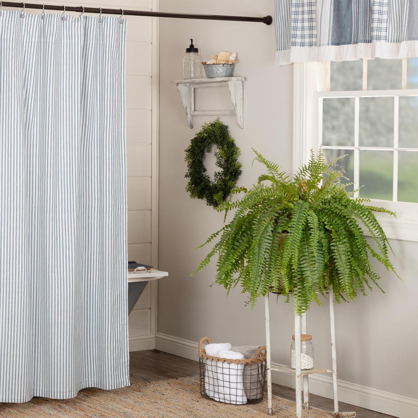 Sawyer Mill Blue Ticking Stripe Shower Curtain 72x72