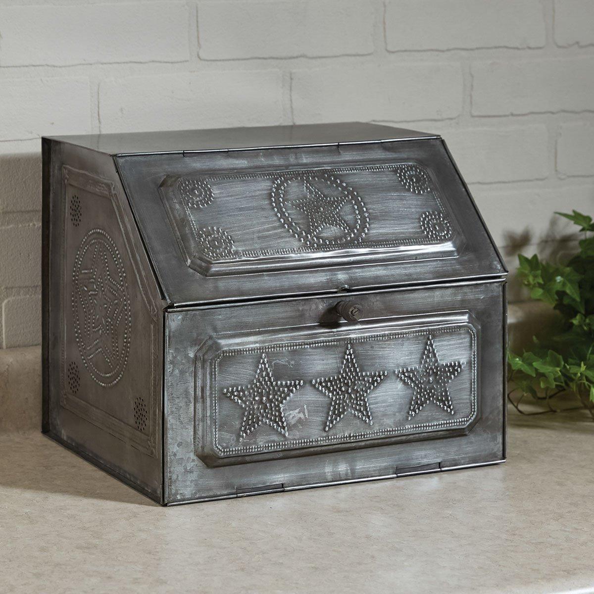 Galvanized Metal Pierced Star Bread Box