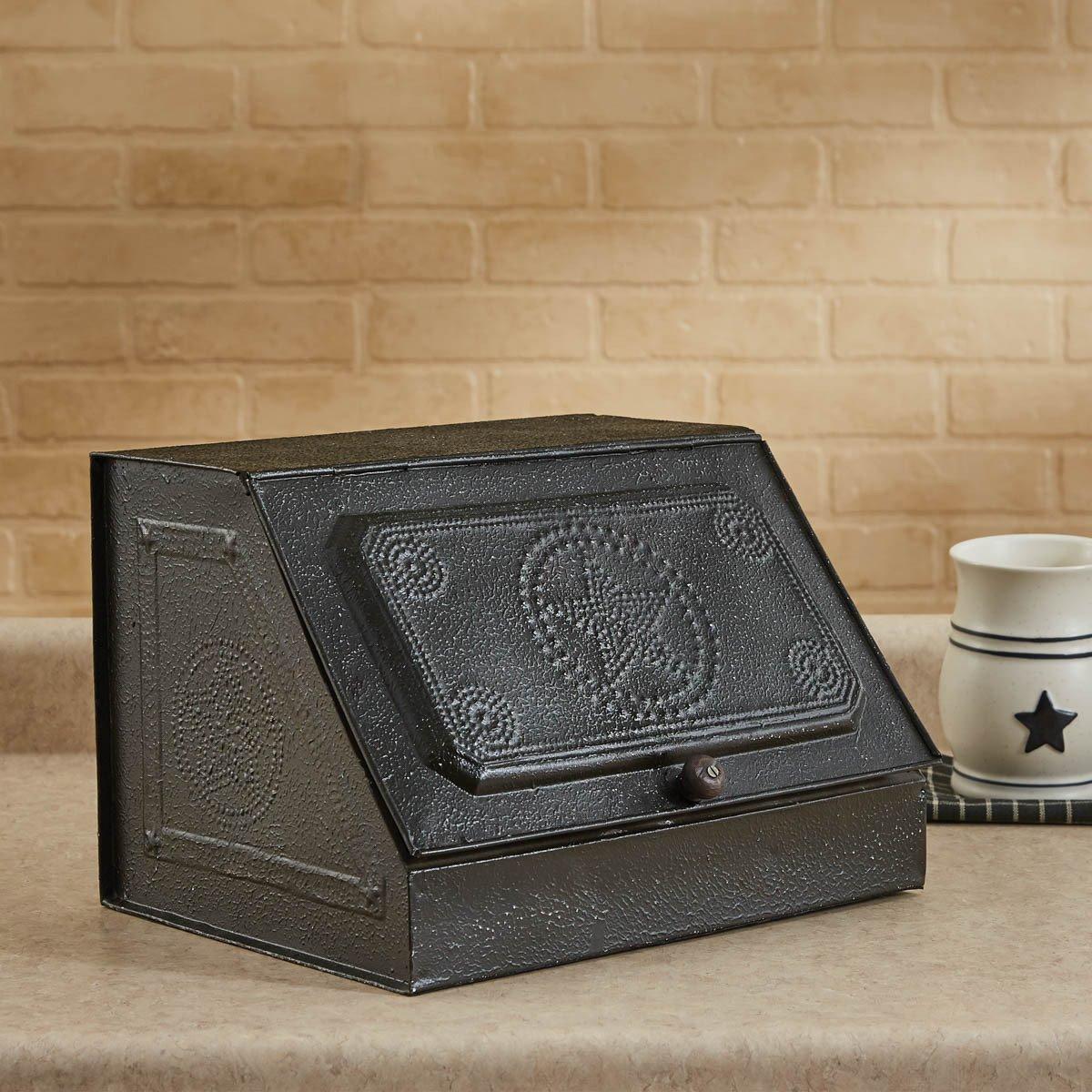 Black Metal Pierced Star Storage Box