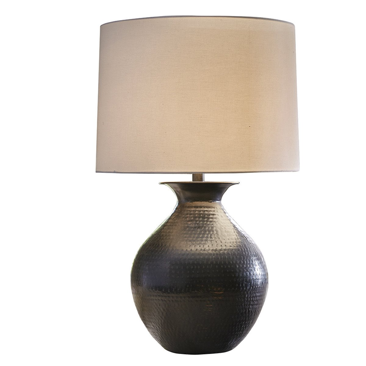 Hammered Metal Table Lamp with Shade