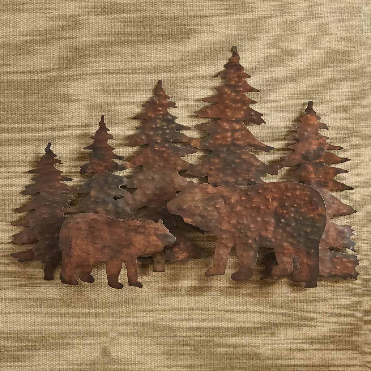 Bear Hammered Copper Wall Art