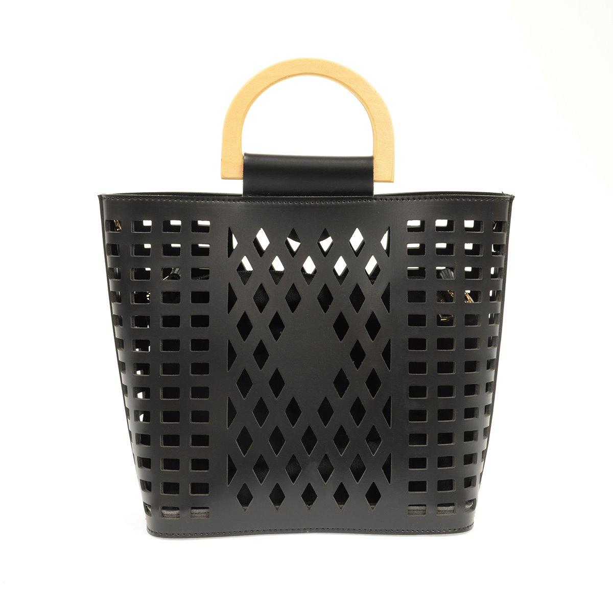 Black Madison Cut-Out Handbag Tote