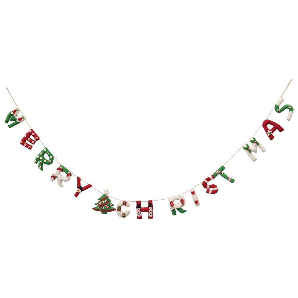 "Whimsical Wool Felt Applique Merry Christmas Banner 72"""