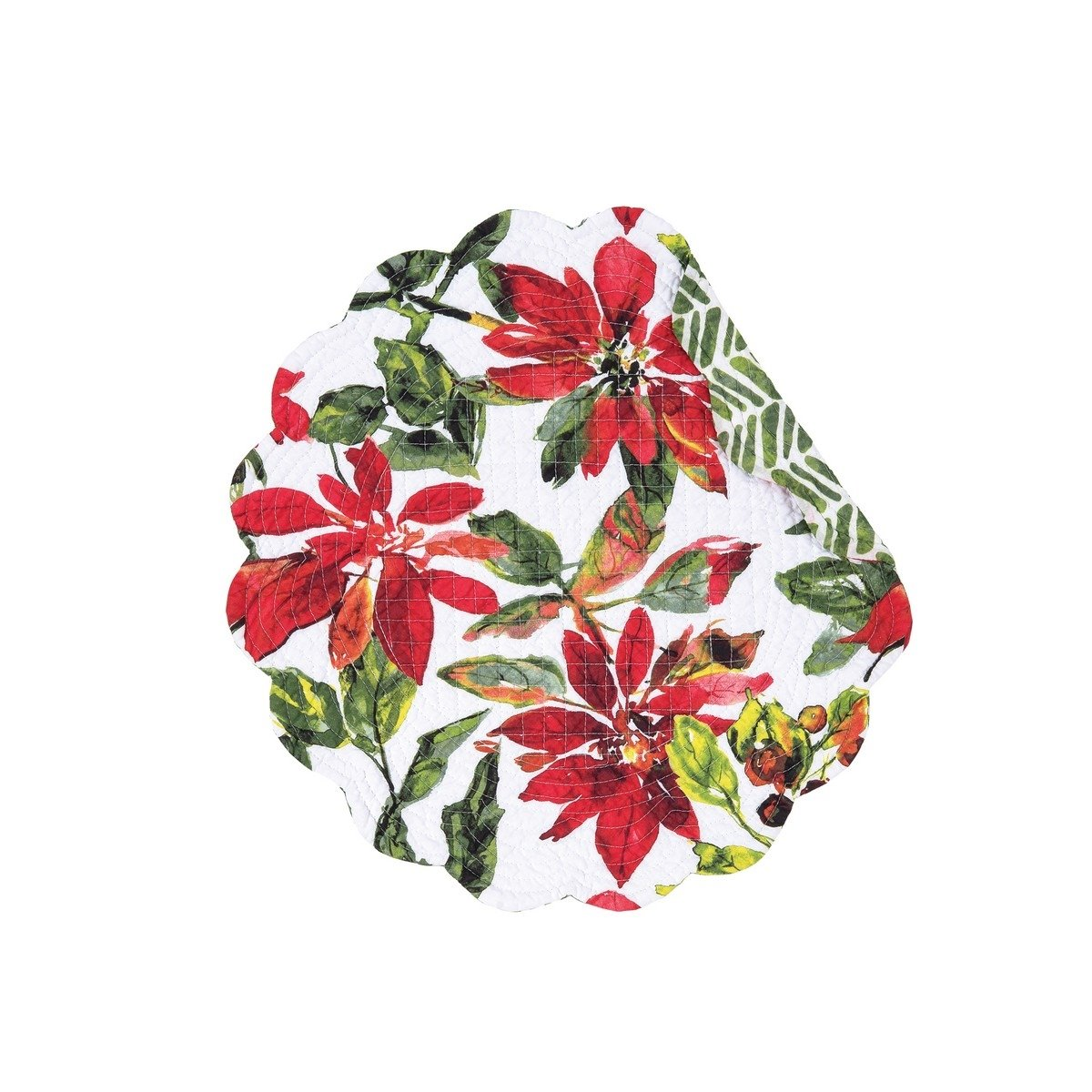 Poinsettia Berries Round Quilted Placemat
