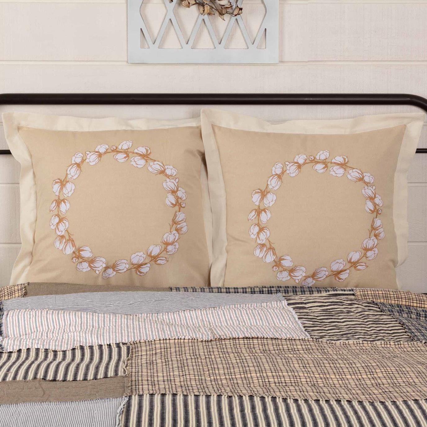 Ashmont Cotton Wreath Fabric Euro Sham Set of 2 26x26