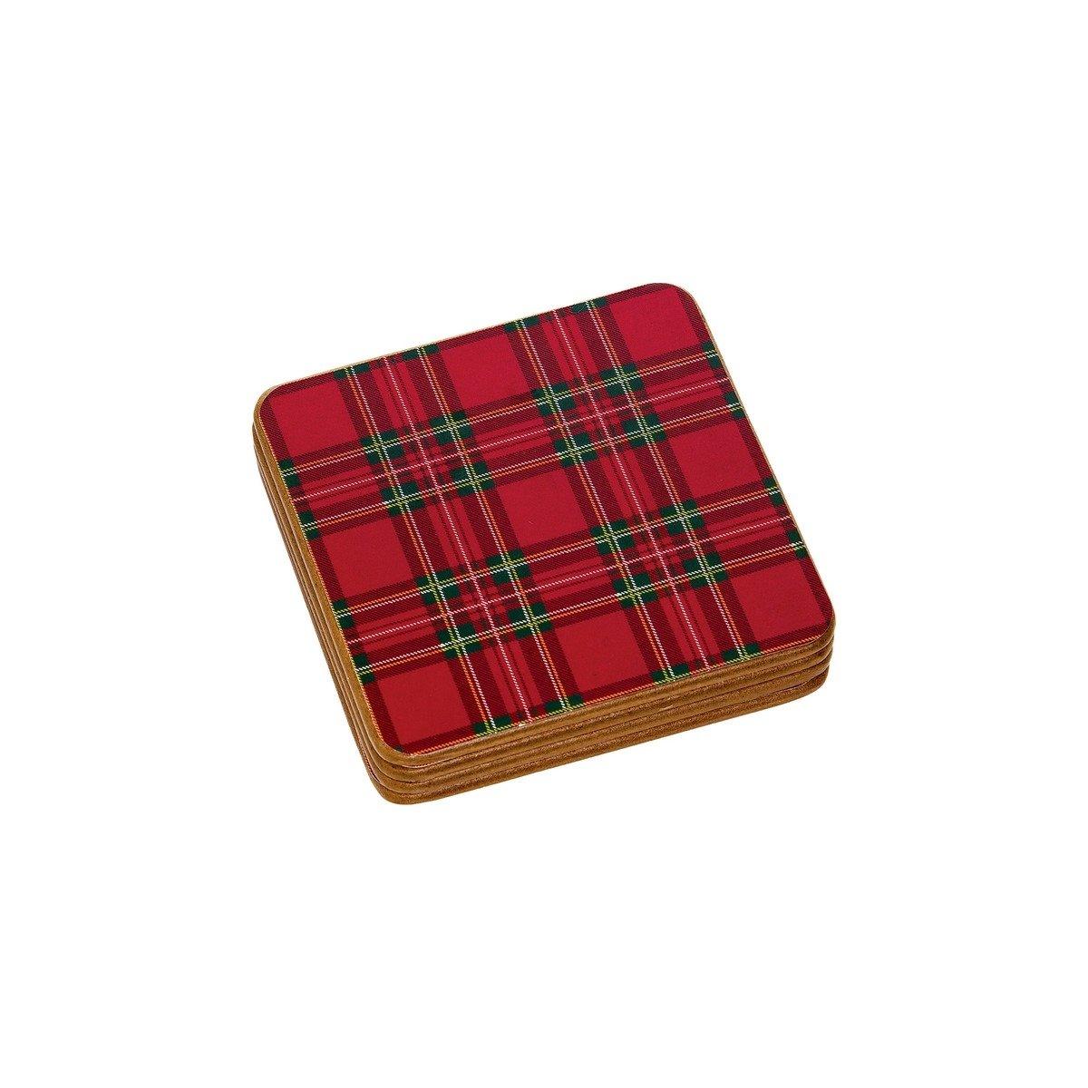 Red Tartan Plaid Hardboard Coaster Set of 4