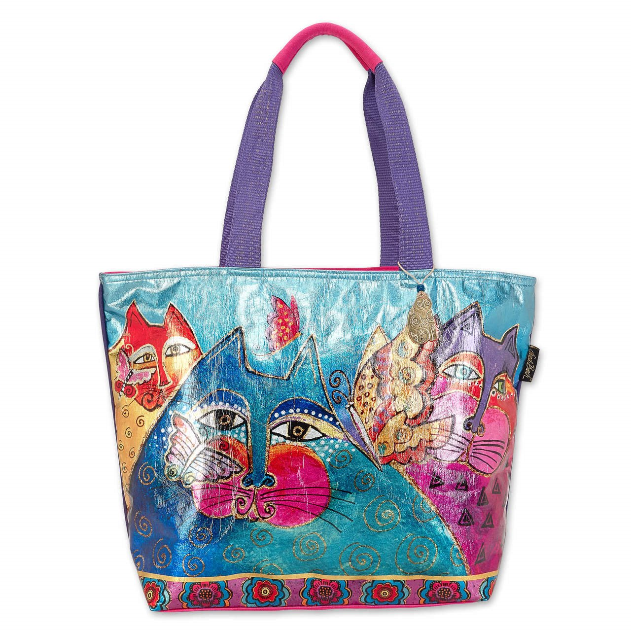 Laurel Burch Feline and Flutterbies Foiled Shoulder Tote
