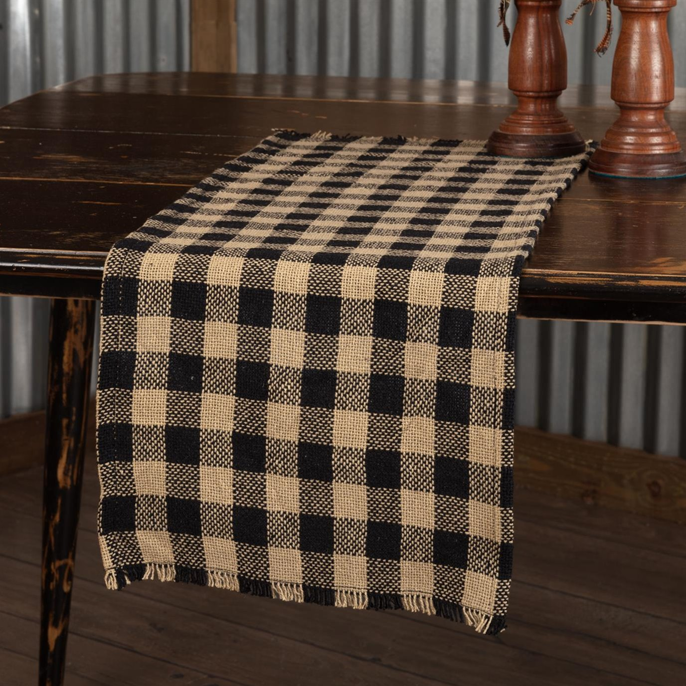Burlap Black Check Runner Fringed 13x48