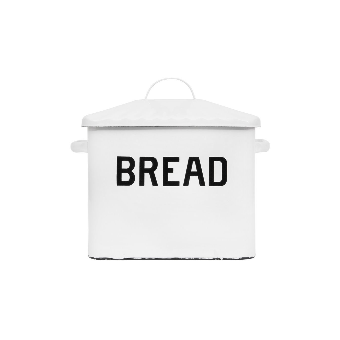 Enameled Metal Distressed White Bread Box with Lid
