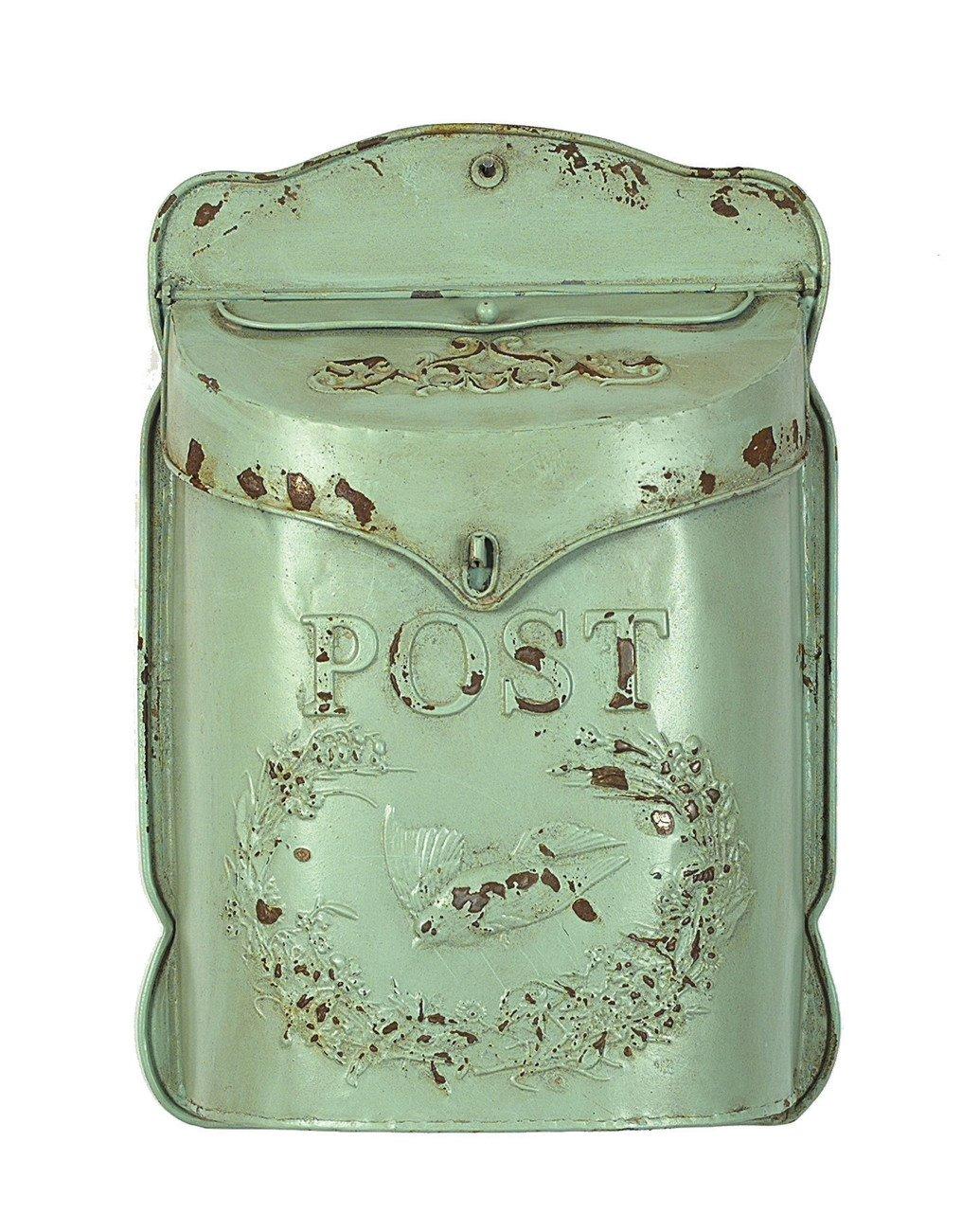 Aqua Embossed Tin Post Box with Distressed Finish