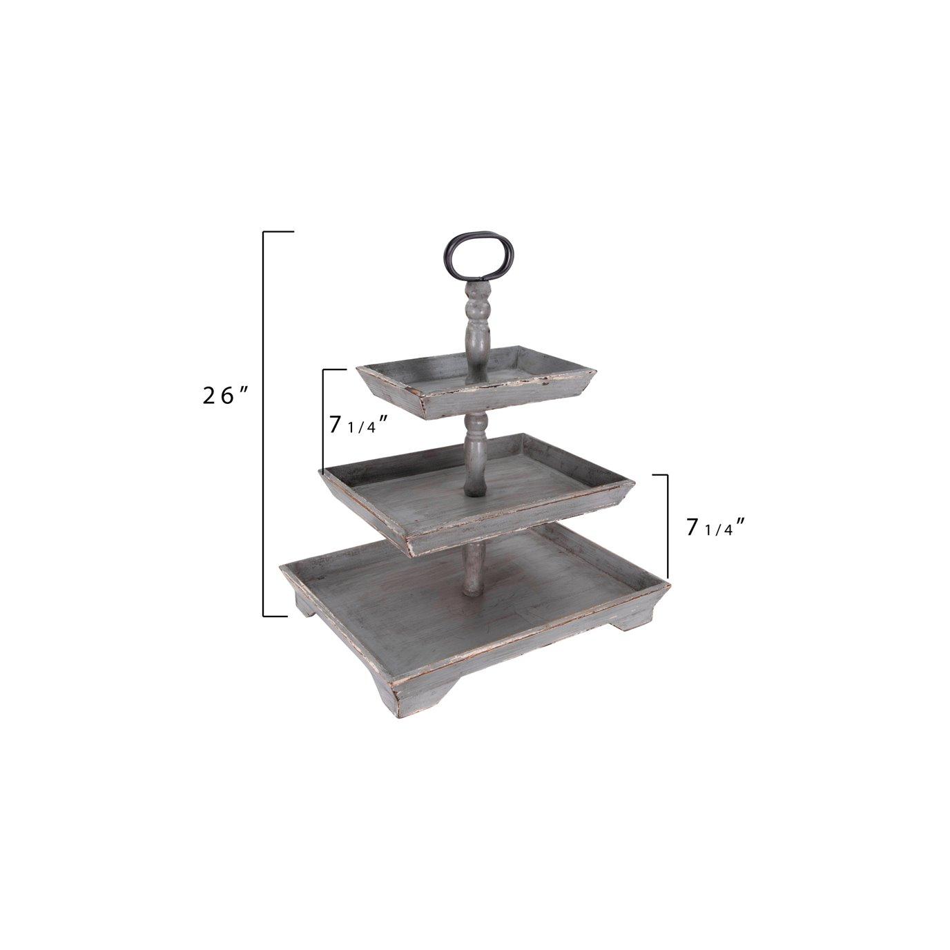 Creative Co-op Grey Decorative 3 Tier Tray