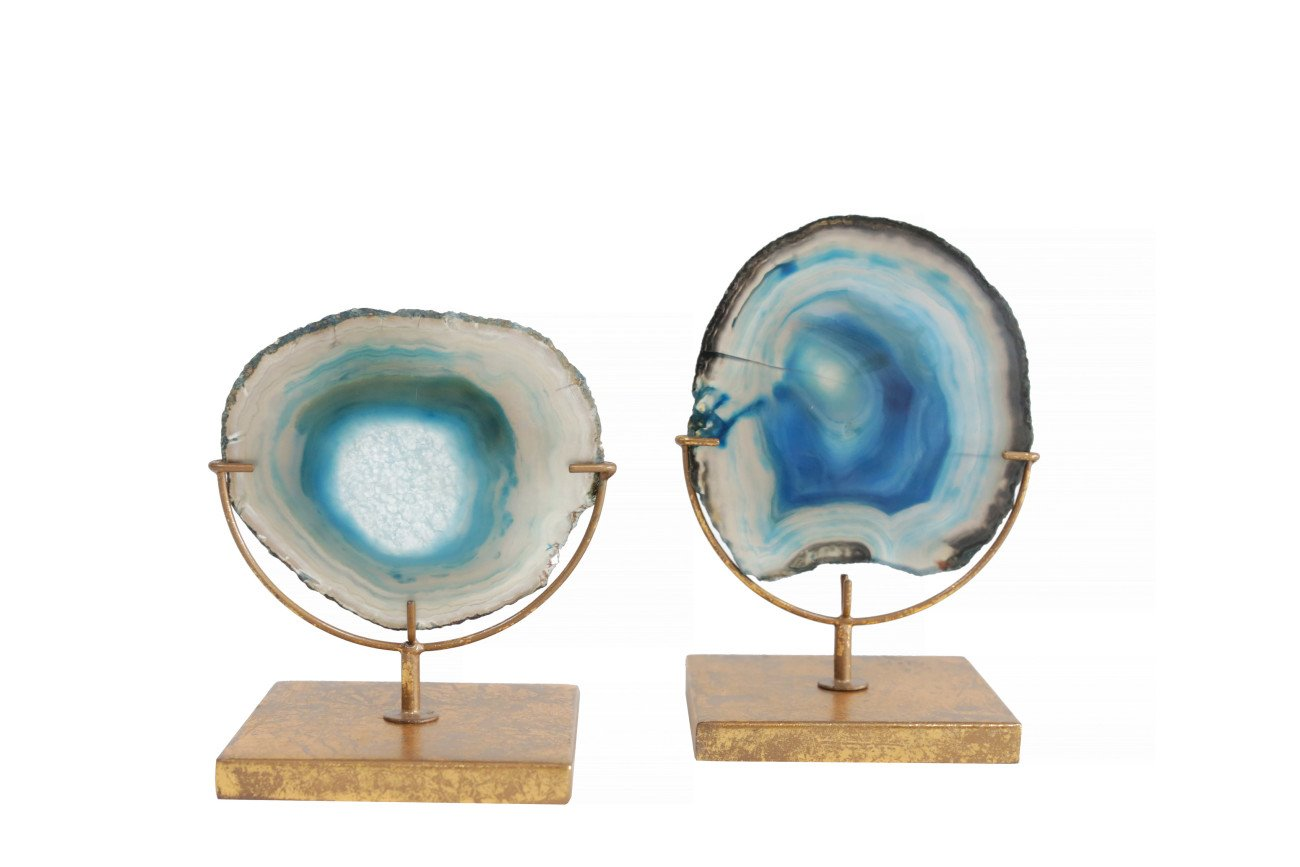 Decorative Blue Agate Stone Slice on Metal Stand