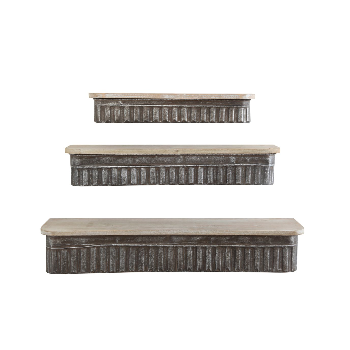 Metal & Wood Wall Shelves (Set of 3 Sizes)