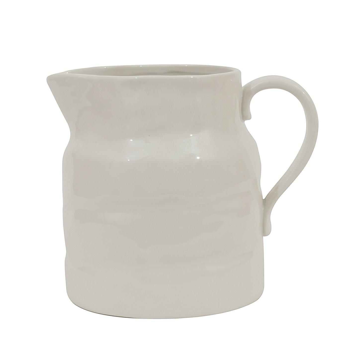 White Vintage Stoneware Pitcher Reproduction