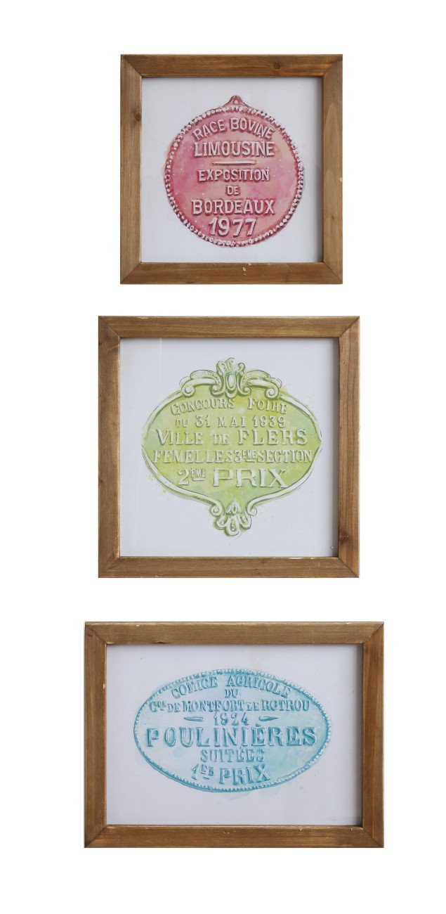 Wood Framed Wall Décor (Set of 3 Styles)