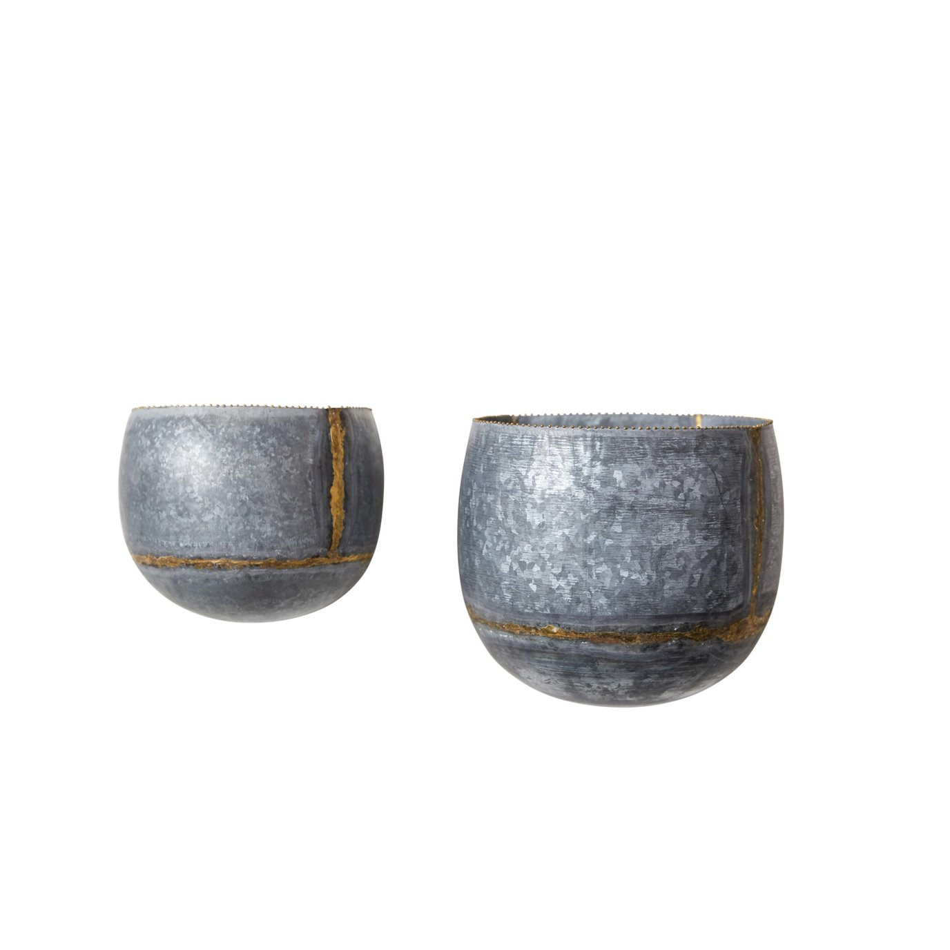 Silver & Gold Metal Wall Planters (Set of 2 Sizes)
