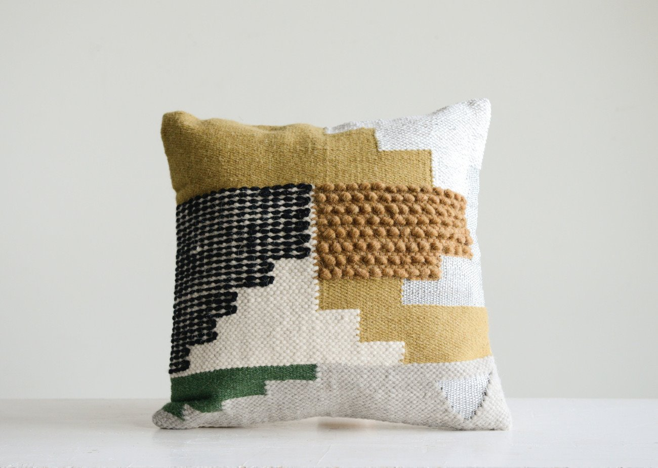 Handwoven White Wool Kilim Pillow with Yellow, Green & Black Accents