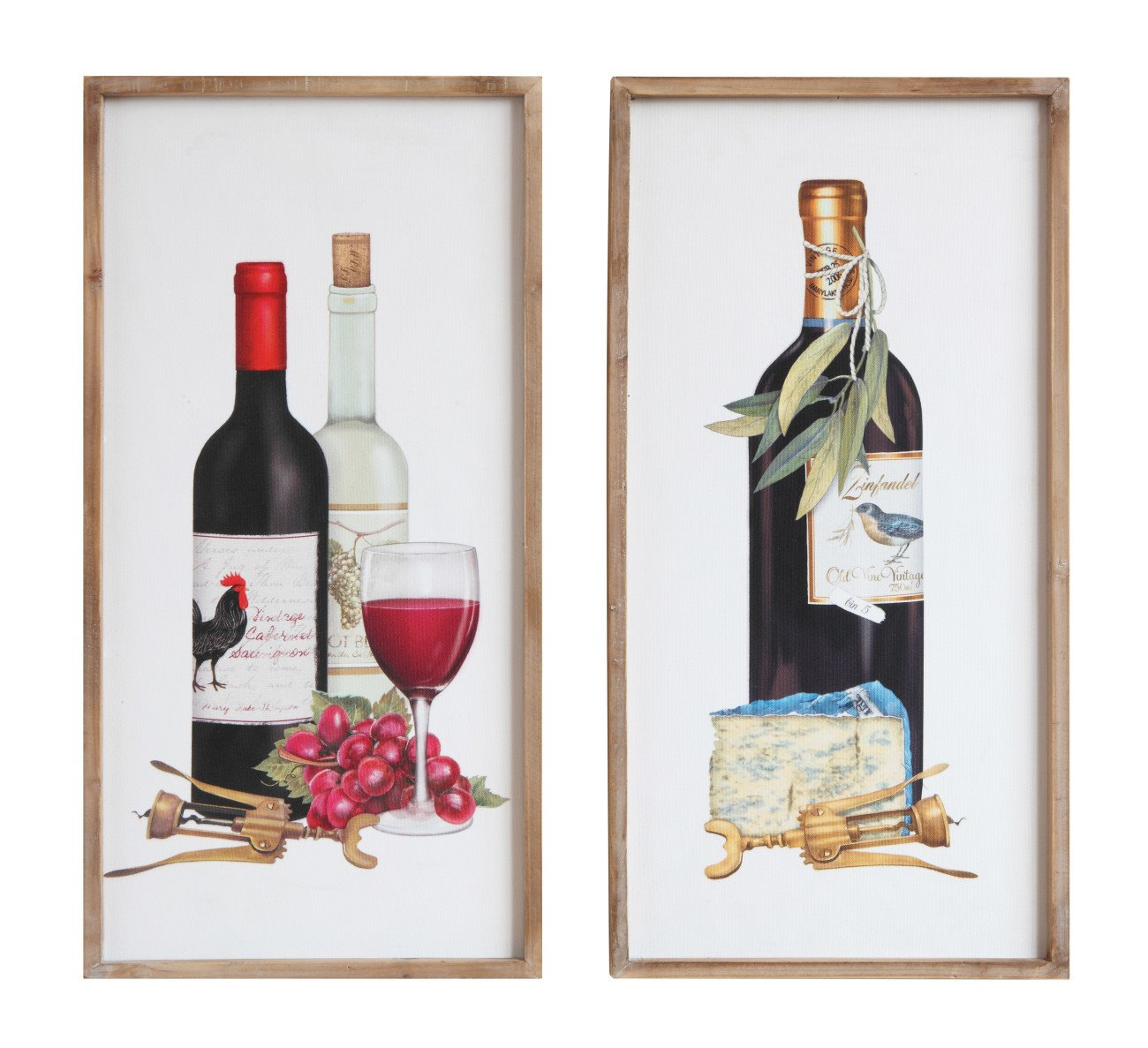 Wine Image Wood Framed Wall Décor (Set of 2 Designs)