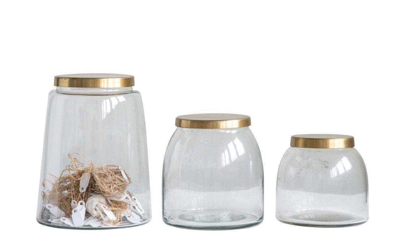 Round Glass Jars with Brass Finish Lids (Set of 3 Sizes)
