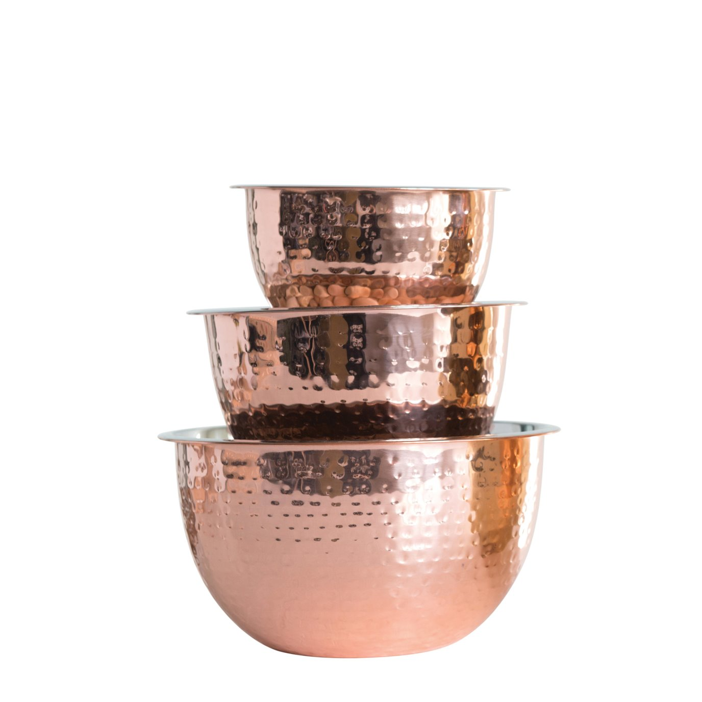 Hammered Stainless Steel Bowls in Copper Finish (Set of 3 Sizes)