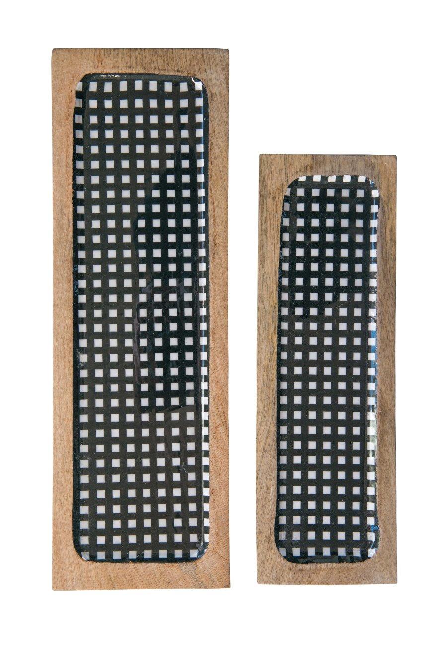 Black Gingham Enameled Mango Wood Trays (Set of 2 Sizes)