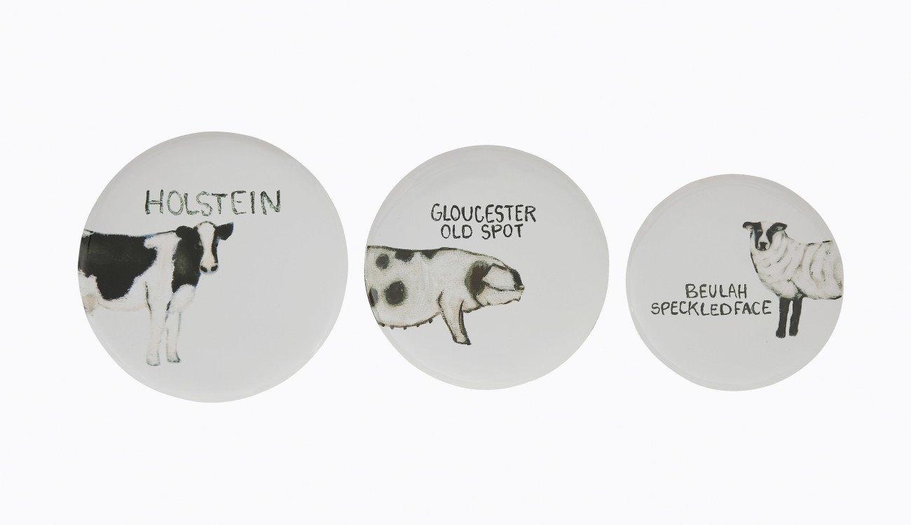 Round Tin Trays with Farm Animal Images (Set of 3 Sizes/Designs)