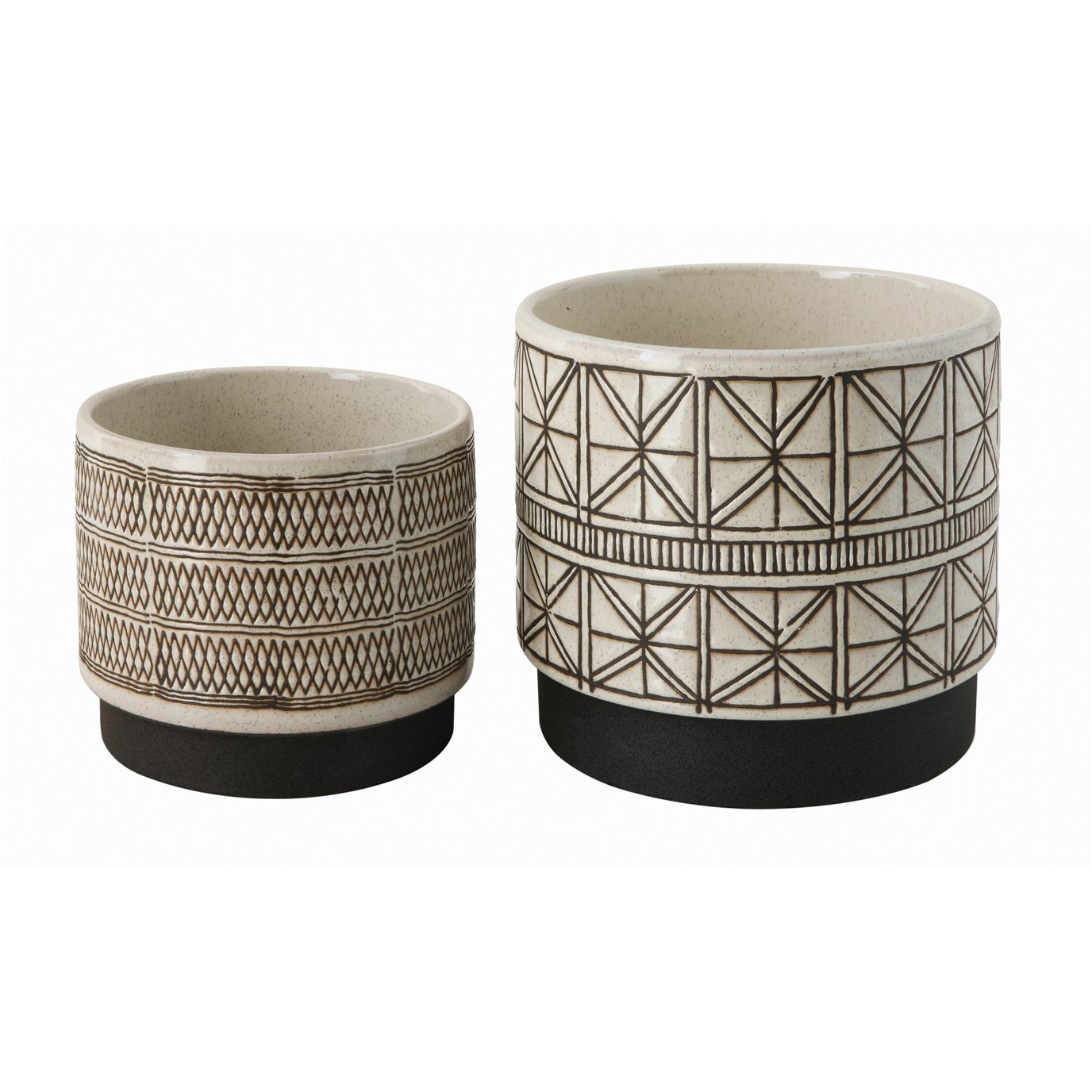 White Stoneware Planters with Black Designs (Set of 2 Designs)