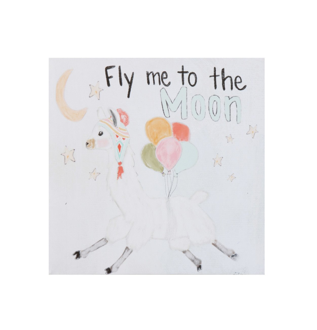 """""""Fly Me to the Moon"""" Square Canvas Wall Décor with Llama Image"""