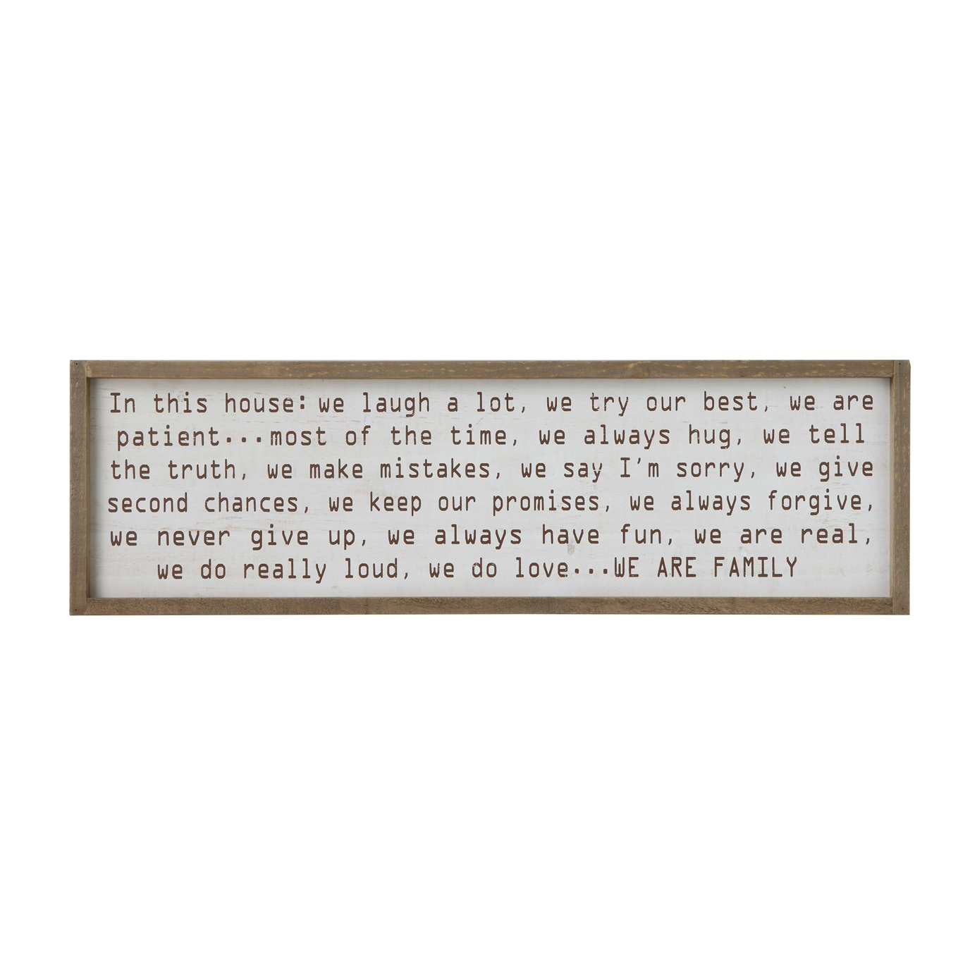 """In this house…"" Wood Framed Wall Décor"
