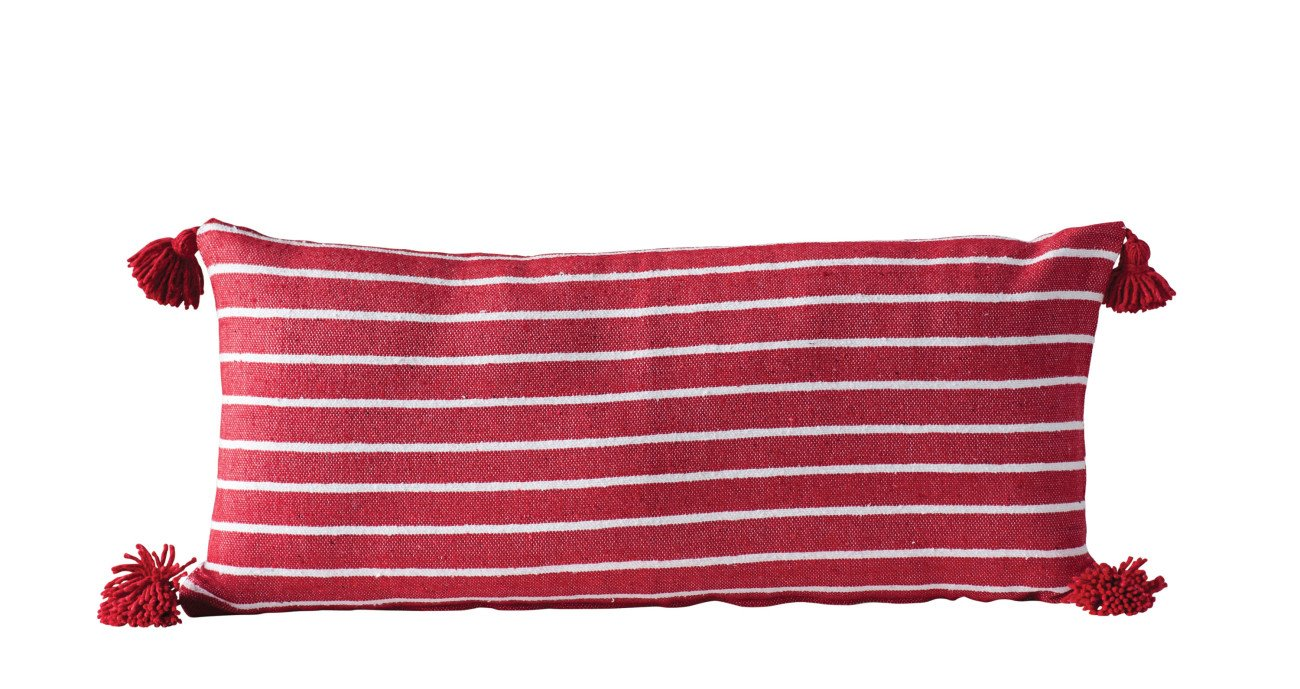 Rectangle Red Cotton Pillow with White Stripes & Red Tassels