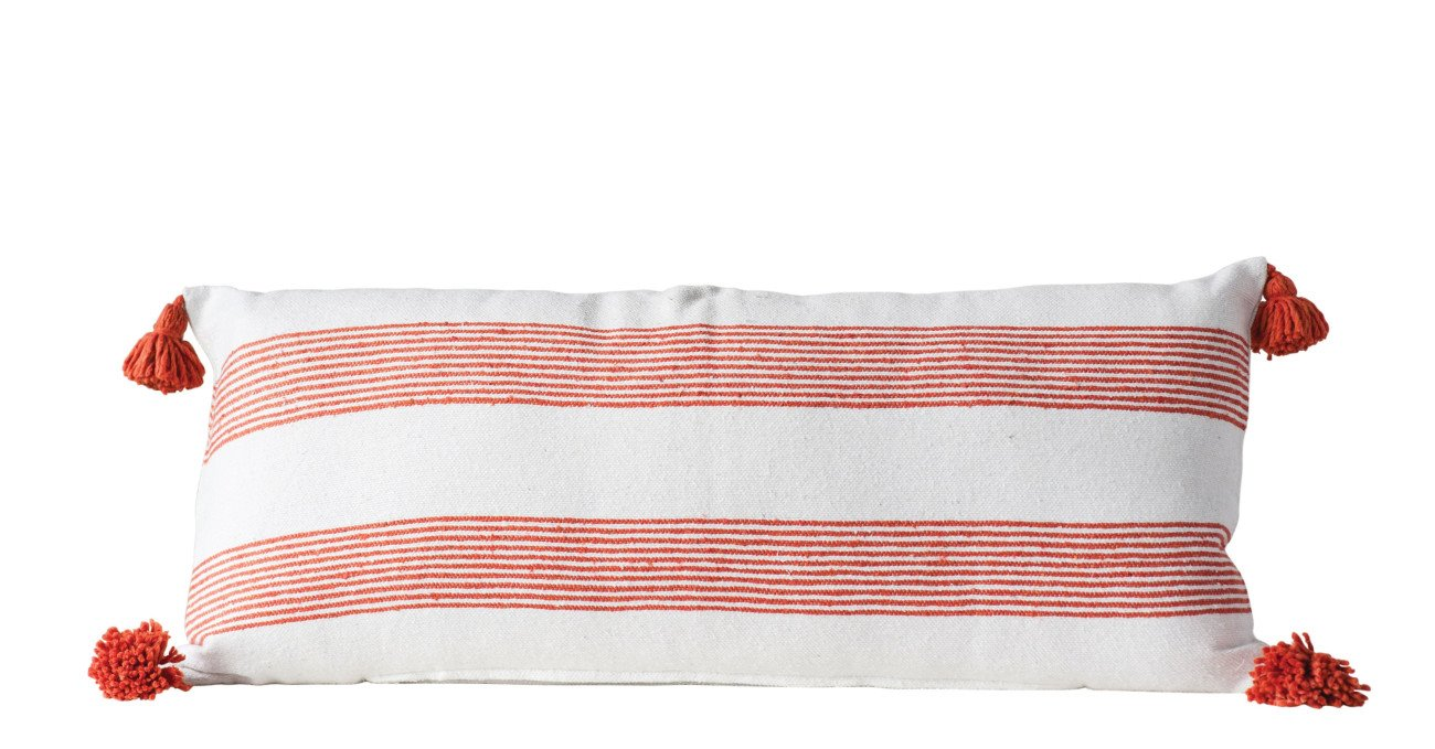 Rectangle White & Orange Striped Cotton Pillow with Orange Tassels