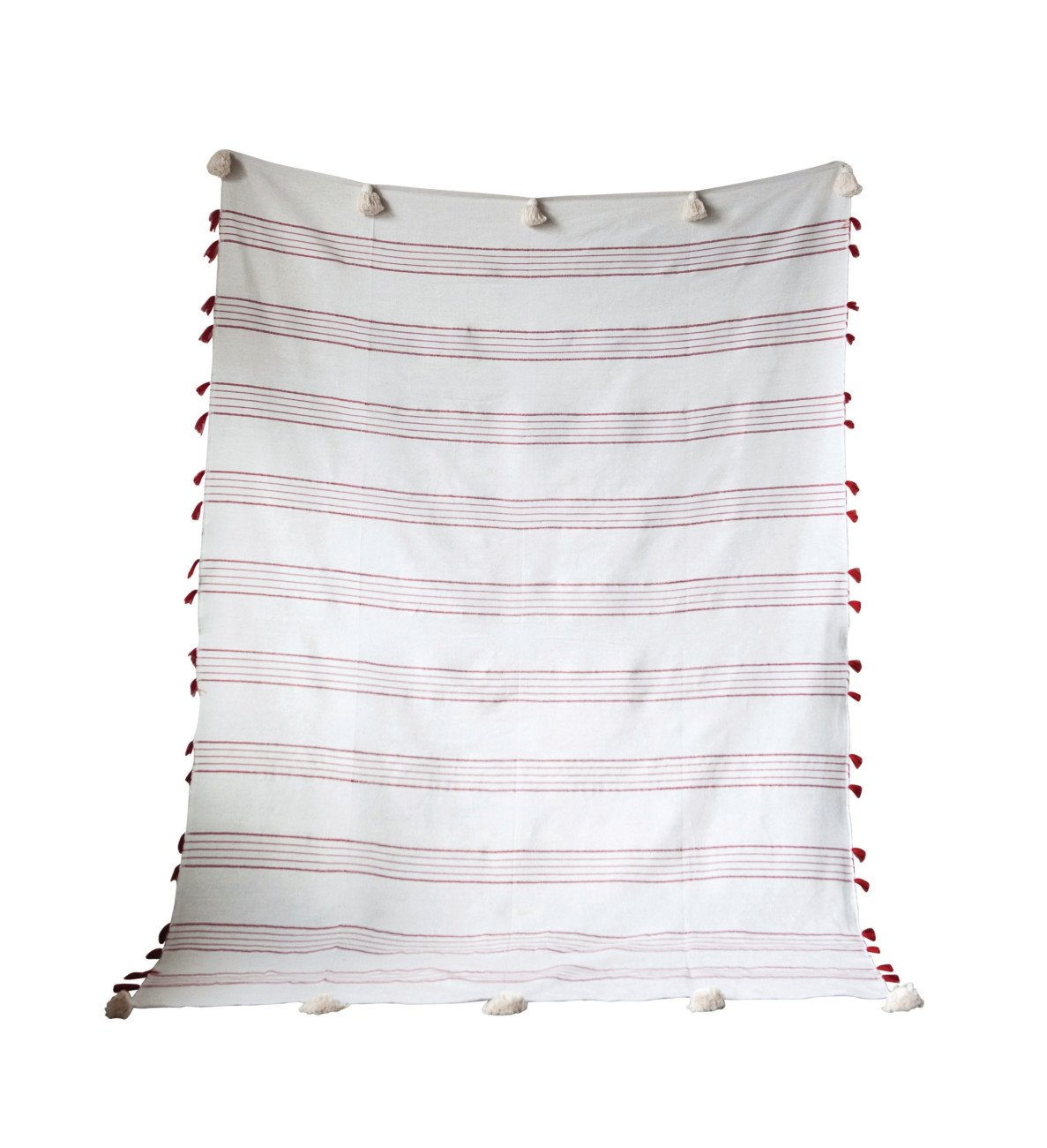 Red & White Striped Hand-Loomed Cotton Bed Cover with Tassels