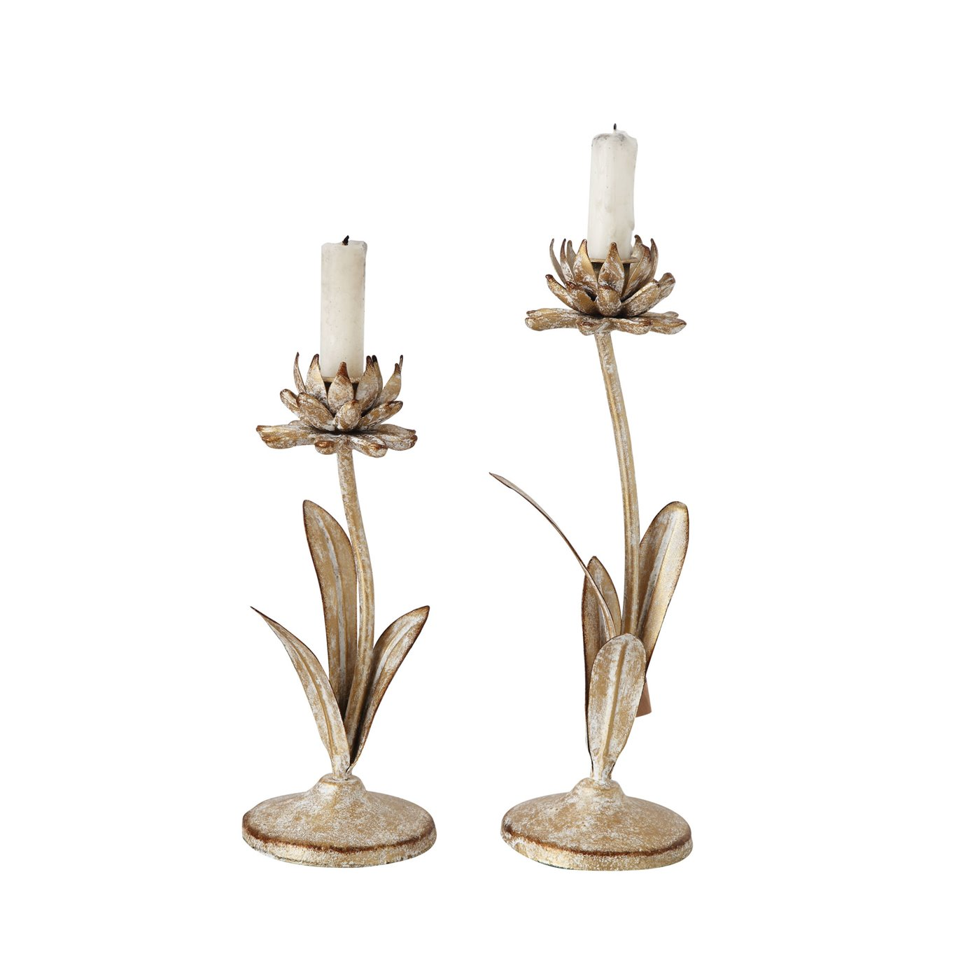 Cut Metal Flower Shaped Taper Candleholder in Distressed Gold Finish (Set of 2 Sizes)