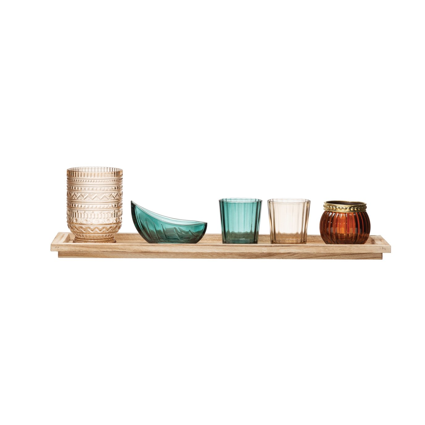 Paulownia Wood Tray with 5 Glass Votive/Tealight Holders (Boxed Set of 6 Pieces)